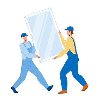 Okno pcv niosące mężczyzn do instalacji wektora. robotnicy budowlani ostrożnie przenoszą okno pcv do instalacji lub wymiany. postacie zawód zawód płaski ilustracja kreskówka