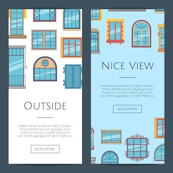 Okno płaski pionowy szablon transparent internetowej