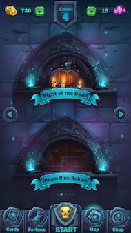 Okno poziomu gui monster battle - interfejs użytkownika gry z ilustracjami kreskówek -