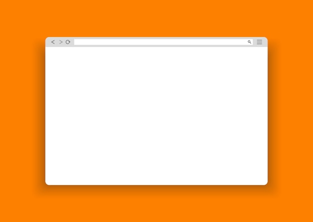 Okno prostej przeglądarki internetowej na pomarańczowym tle.