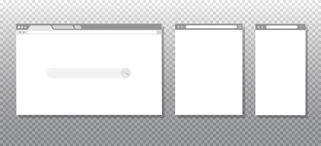 Okno prostych przeglądarek internetowych na białym tle. przeglądarka internetowa w różnych rozmiarach na laptopa, tablet i telefon