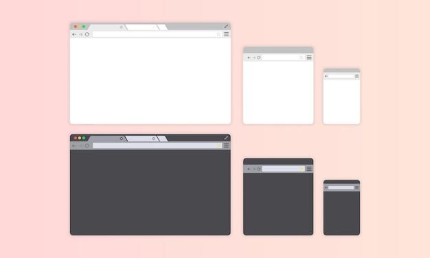 Okno przeglądarki. jasny i ciemny motyw. wyświetlacz komputera i telefonu.