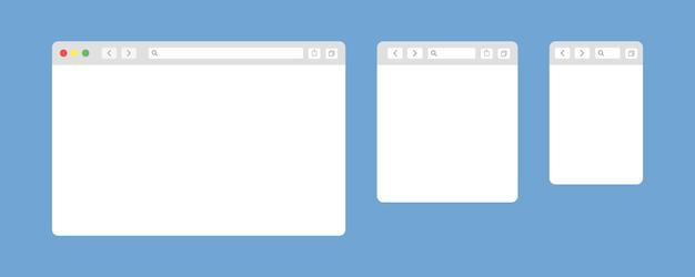 Okno przeglądarki na białym tle elementów sieci web wektorowych.