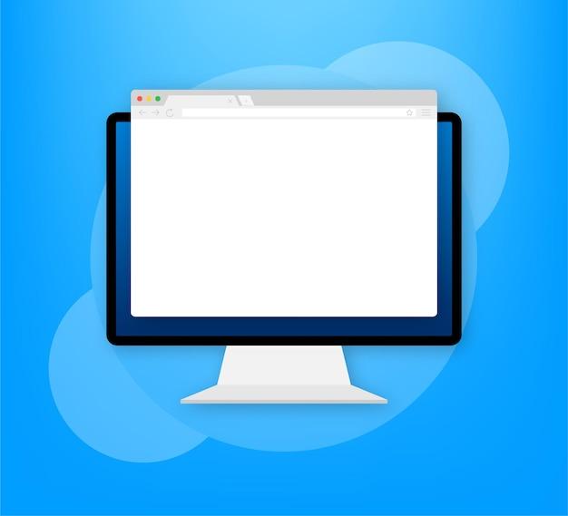 Okno przeglądarki. przeglądarka lub przeglądarka internetowa w płaskim stylu