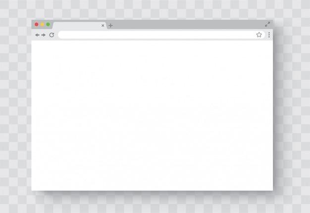Okno przeglądarki. realistyczne puste okno przeglądarki z cieniem. pusta strona internetowa