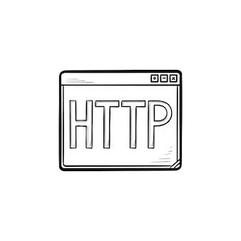 Okno przeglądarki z ikoną doodle wyciągnąć konspektu tekst http ręcznie. hiperłącze, koncepcja łącza do witryny. szkic ilustracji wektorowych do druku, sieci web, mobile i infografiki na białym tle.