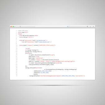 Okno przeglądarki z prostym kodem html strony internetowej