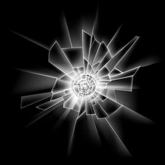 Okno przezroczyste pęknięcia szklane na białym tle na ciemny