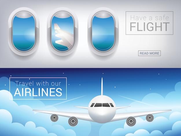 Okno samolotu, sztandar turystyczny. samolot pasażerski w chmurach nieba, bezpieczny lot po niebie