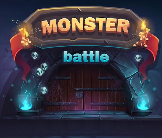 Okno startowe gui monster battle. w przypadku sieci, gier wideo, interfejsu użytkownika, projektowania