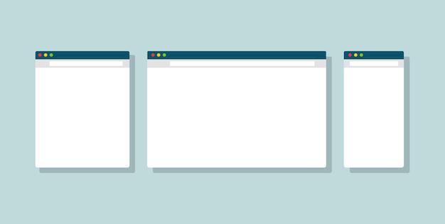 Okno strony www na komputer, tablet i smartfon. szablon interfejsu użytkownika okna przeglądarki internetowej.