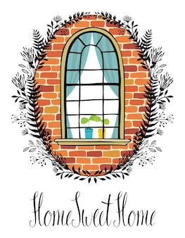 Okno w ścianie z cegły z winietą kwiatową i kaligrafii Pisanie domu, słodkie domu