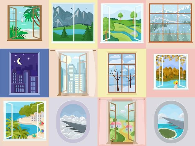 Okno wektor wnętrza domu z pięknym widokiem na góry morze plaża wakacje zestaw ilustracji dekoracji drewnianej ramie domu