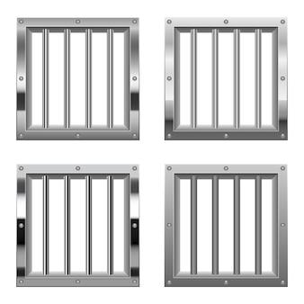 Okno więzienia na białym tle