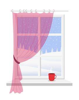 Okno z parapetem, białą ramą i różową zasłoną z widokiem na piękny zimowy krajobraz.