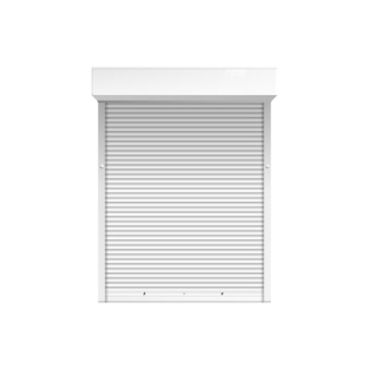 Okno z roletami lub roletami 3d ilustracja na białym tle