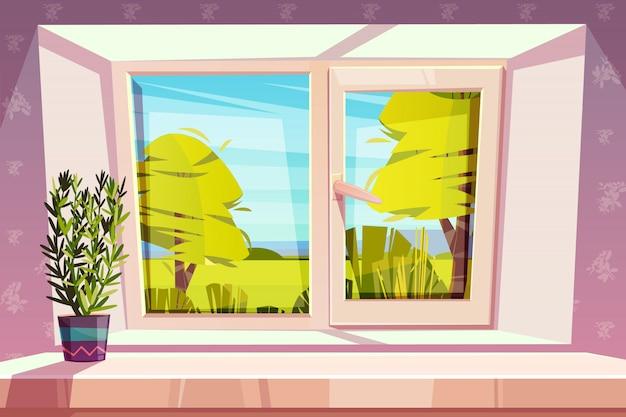 Okno z widokiem na słoneczny park lub łąka i roślina domu w doniczce na parapecie kreskówka