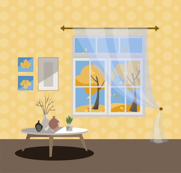 Okno z widokiem na żółte drzewa i latające liście. jesienne wnętrze. słoneczna dobra pogoda na zewnątrz.