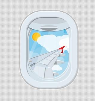 Okno z wnętrza samolotu.