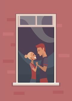 Okno z zakochaną parą.
