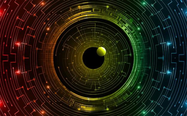 Oko cyber obwód koncepcja przyszłości technologia tło