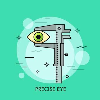 Oko ludzkie mierzone suwmiarką. kreatywna koncepcja narzędzia pomiarowego, precyzyjny pomiar wymiarów, skalowanie, wysoka dokładność i precyzja.
