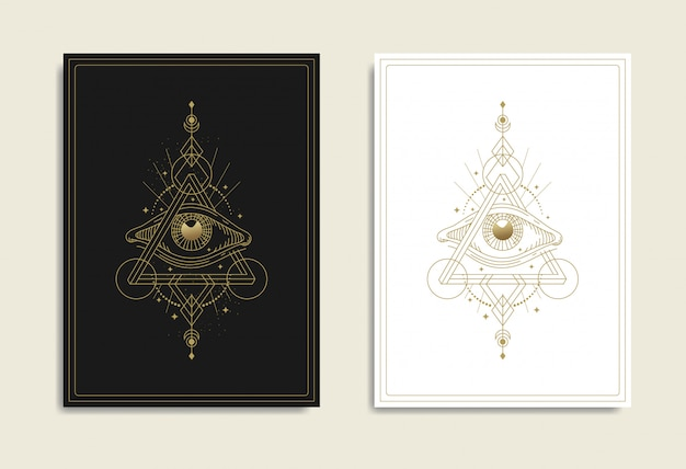 Oko opatrzności z niemożliwym trójkątem, trójkątem penrose'a, świętą geometrią. masoński, wszystko widzące oko, new world order, religia, duchowość, okultyzm, tatuaż, tarot. na białym tle wektor.