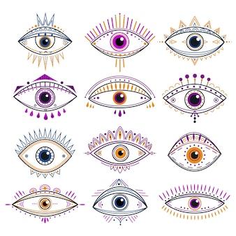 Oko opatrzności. złe oczy, mistyczne ezoteryczne symbole. projekt abstrakcyjnych znaków okultystycznych. dekoracyjne ikony tatuażu linii alchemii i magii. ezoteryczny amulet, ilustracja mistycznego oka opatrzności