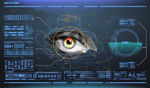 Oko w trakcie skanowania. skanowanie biometryczne z futurystycznym interfejsem hud. kontrola i bezpieczeństwo w dostępach. system nadzoru, technologia immersyjna