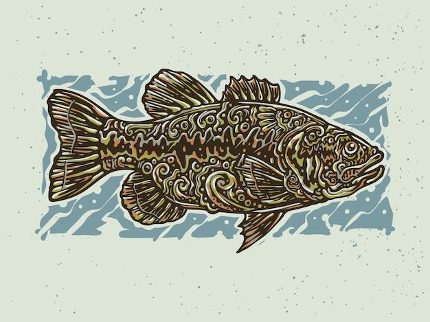 Okoń ryb tribal tatuaż vintage ilustracja