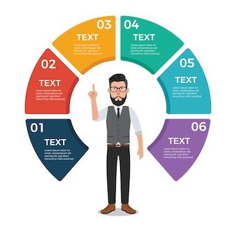 Okrąg infographic z hipster biznesmen