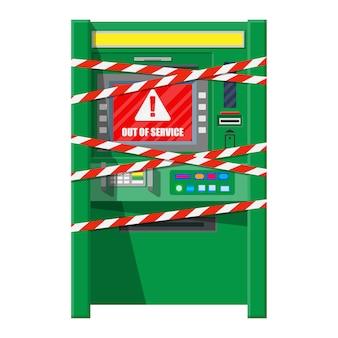 Okradziony bankomat z taśmami ostrzegawczymi