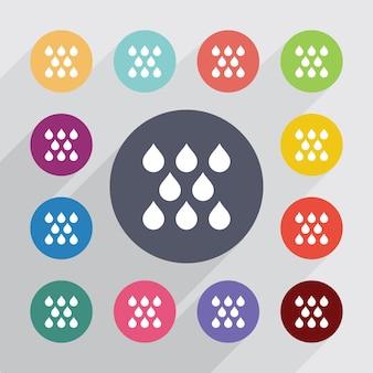 Okrąg deszcz, zestaw ikon płaski. okrągłe kolorowe guziki. wektor
