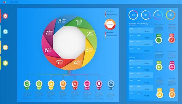 Okrąg elementy graficzne przepływu pracy firmy. może być używany do grafiki informacyjnej,