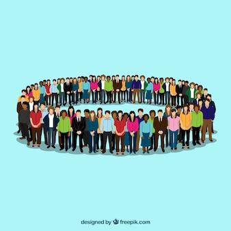 Okrąg utworzony z płaskimi obywatelami