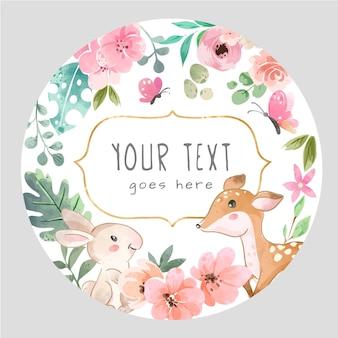 Okrąg znak z uroczymi dzikimi zwierzętami i ilustracjami kolorowych kwiatów