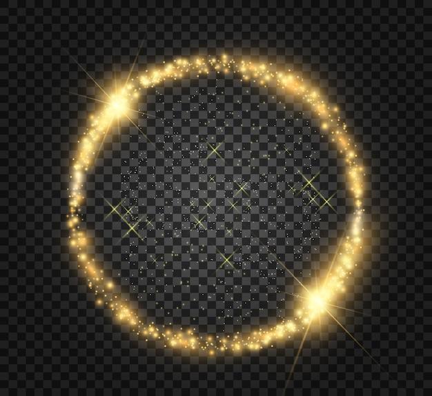 Okrągła błyszcząca oprawa świetlna. magiczny krąg.