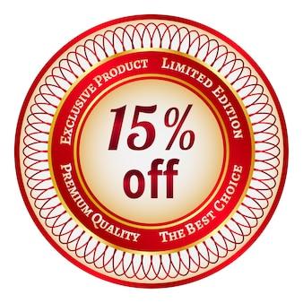 Okrągła czerwona i złota naklejka lub etykieta z 15-procentowym rabatem