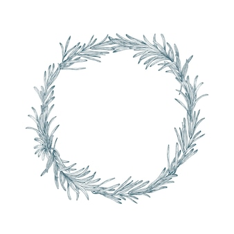 Okrągła dekoracja lub wieniec wykonany z rozmarynu ręcznie rysowane z liniami konturu na białym tle