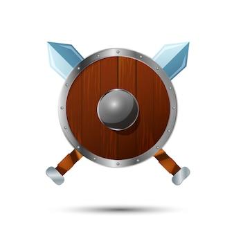 Okrągła drewniana tarcza z skrzyżowanymi mieczami ikona kreskówka