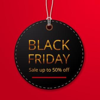 Okrągła etykieta cenowa z ceną rabatu na szablon oferty sprzedaży w czarny piątek dla mody odzieżowej