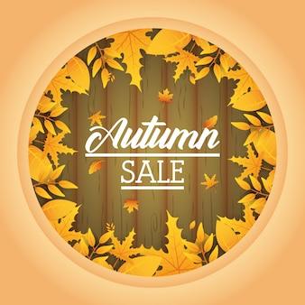 Okrągła etykieta sprzedaży jesienią