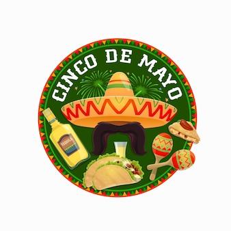Okrągła ikona cinco de mayo