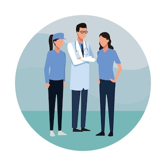 Okrągła ikona medycznych pracy zespołowej