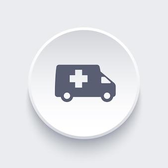 Okrągła ikona samochodu pogotowia