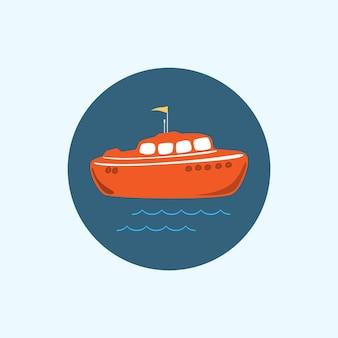Okrągła ikona z kolorową łodzią, falami i flagą, ilustracji wektorowych