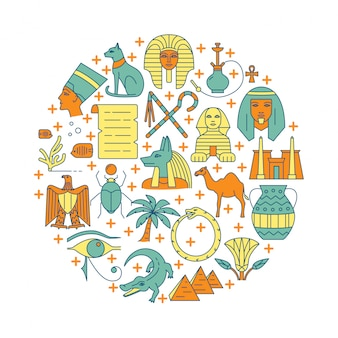 Okrągła ilustracja z symbolami egiptu