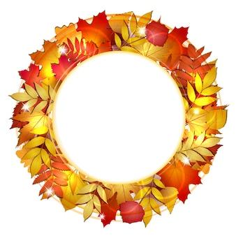 Okrągła jesień z czerwonymi liśćmi. ilustracja.