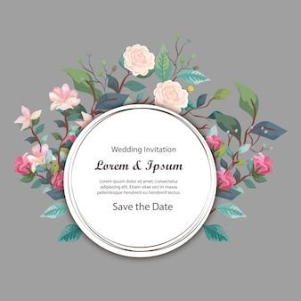 Okrągła karta zaproszenie na ślub z kwiatów i liści