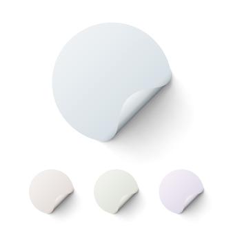 Okrągła kolorowa naklejka na białym tle, zestaw. ilustracja wektorowa
